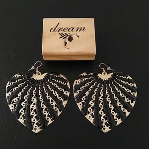 Polished Black and Gold  Swirly Heart Earrings